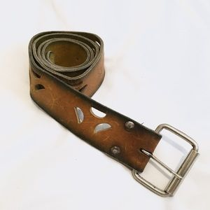 Accessories - Leather Belt Bird Embossed with Cutouts
